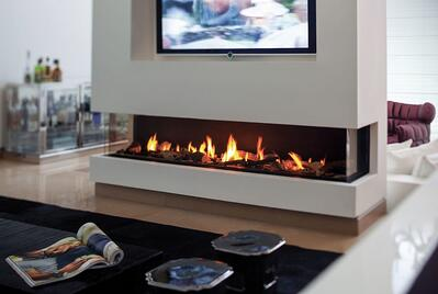 A Clear 170 Three Sided Fireplace with Double Glass Heat Barrier