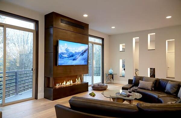 Fireplace and Big Screen