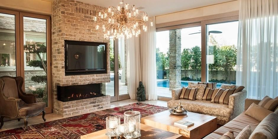 Three-Sided Fireplace
