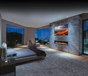 fantastic panoramic view bedroom decorating with modern fireplace