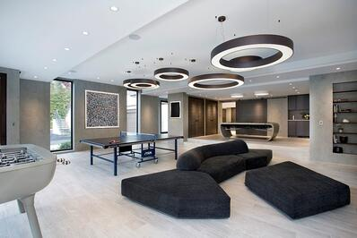 modern sliding barn doors and contemporary family room furniture